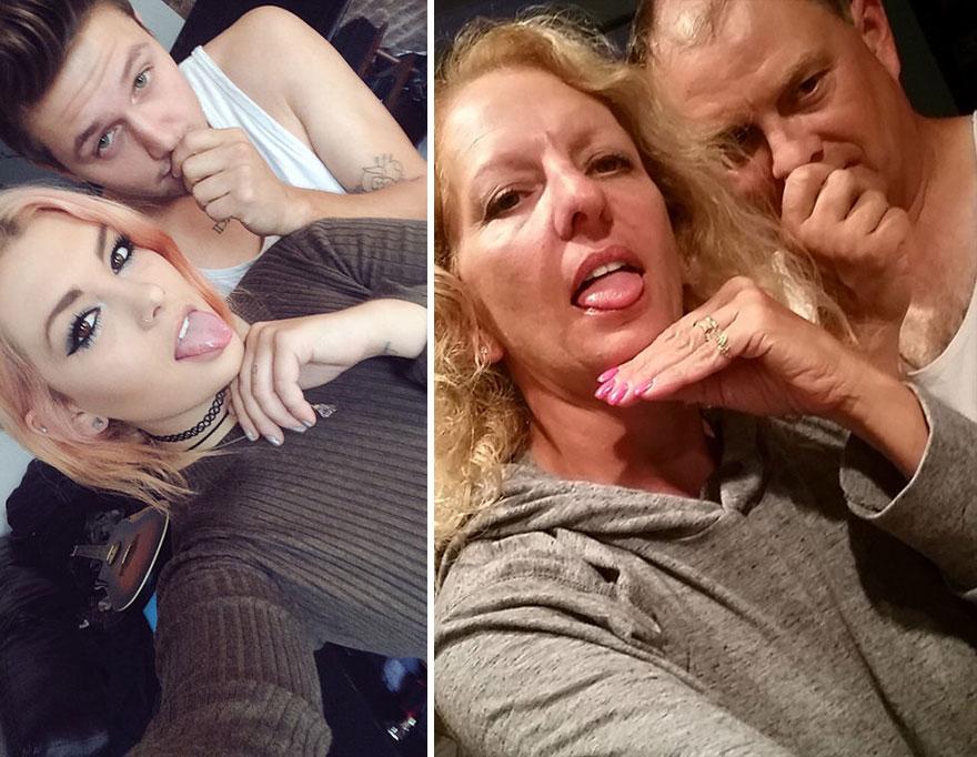 Deze ouders imiteren de selfies van hun dochter en haar vriendje