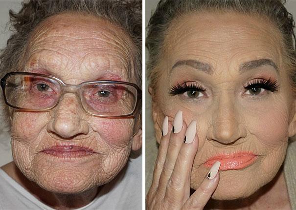 Omaatje van 80 vraagt haar kleinkind om make-up en wordt een internetsensatie